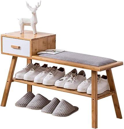 LiSun Changez Chaussures Tabouret En Bois Massif Meuble À