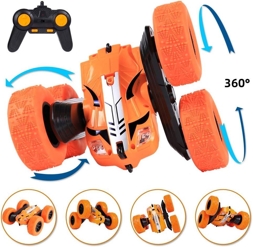 le-idea RC Coche, 1:28 Stunt Coche Teledirigido Coche de Control Remoto Doble Lado Rotación de 360 Grados de Alta Velocidad Controlremoto 2.4GHz para Niños/Adultos, con Batería Recargable