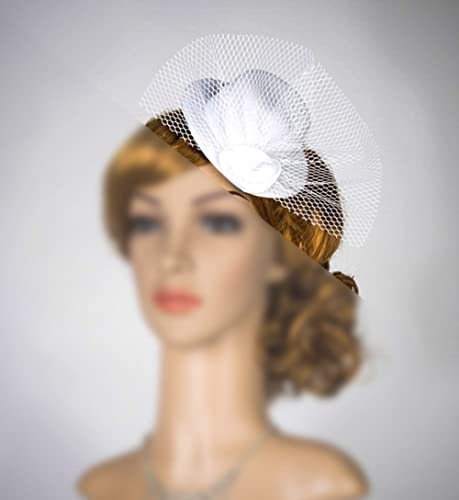 fddd61b4260 Amazon.com: Tiny Hats Mini Fascinator With Veil Mini Hat Headband ...