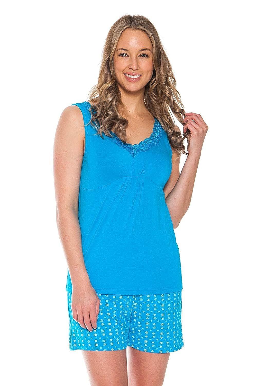 Horizon bluee Patricia Women's 2 Piece Pajama Set Short Sleeve Top and Cute Shorts Loungewear