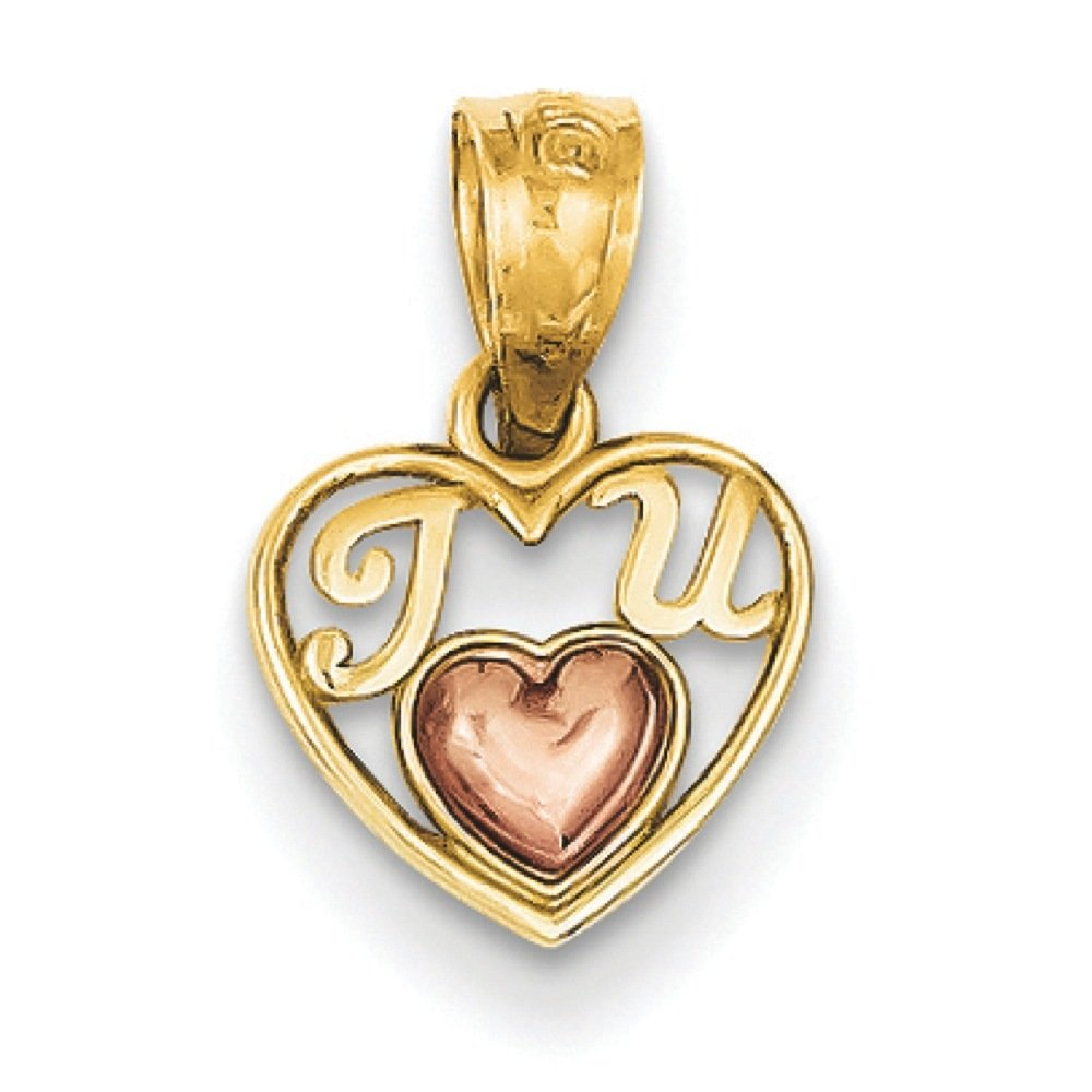 14k Two-tone Gold Polished Mini I Love U Charm Pendant 14mmx9mm