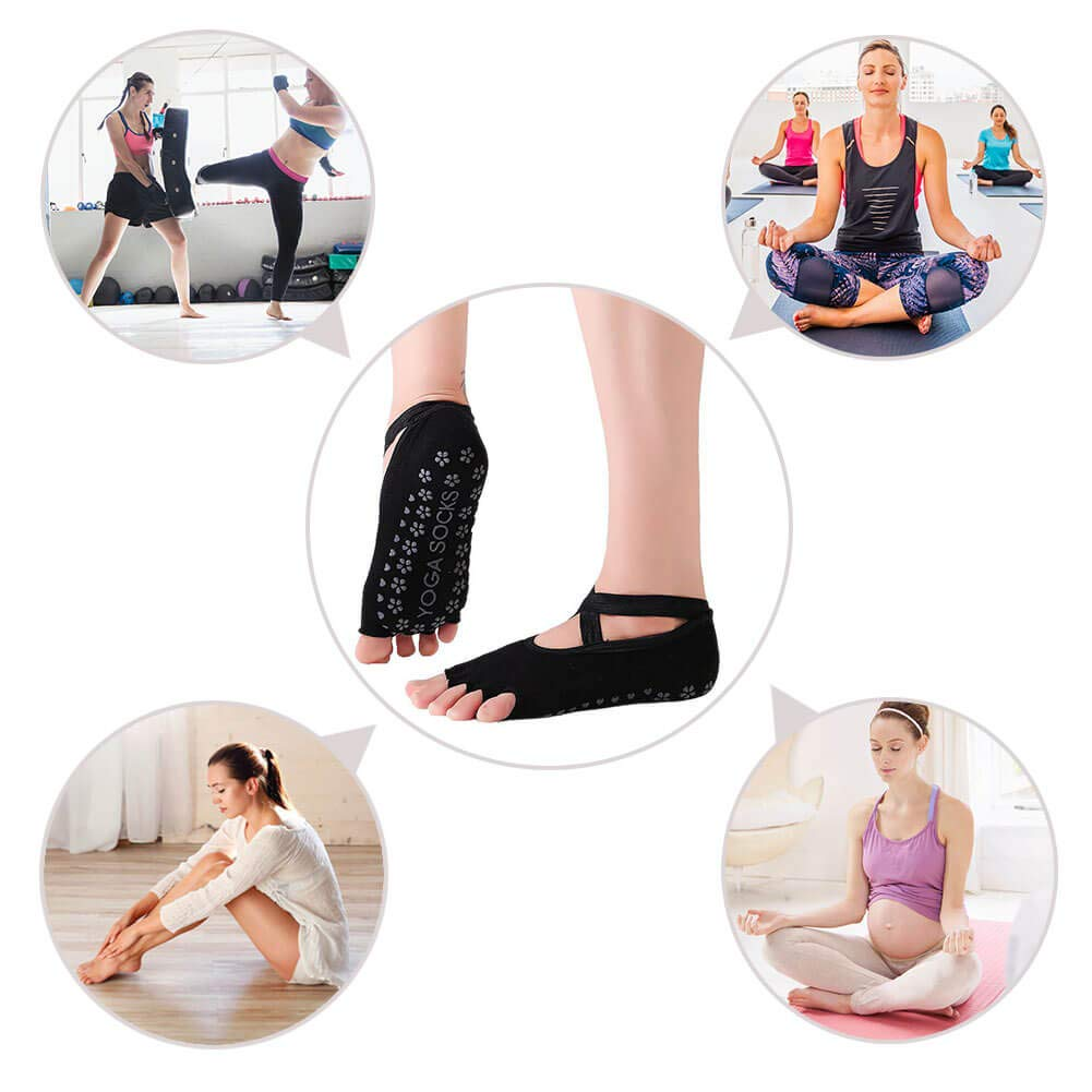 Clean Dell Yoga Socks for Women Non-Slip Grips & Straps, Ideal for Pilates, Pure Barre, Ballet, Dance, Barefoot Workout