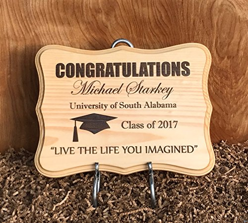 Plaque Favor Party Name (Large Graduation Personalized Wood Sign/Plaque for Graduate. Makes Great Gift)