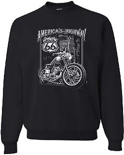 Biker American Motorcycle Chopper Route 66 Mens Short Or Long Sleeve T Shirt