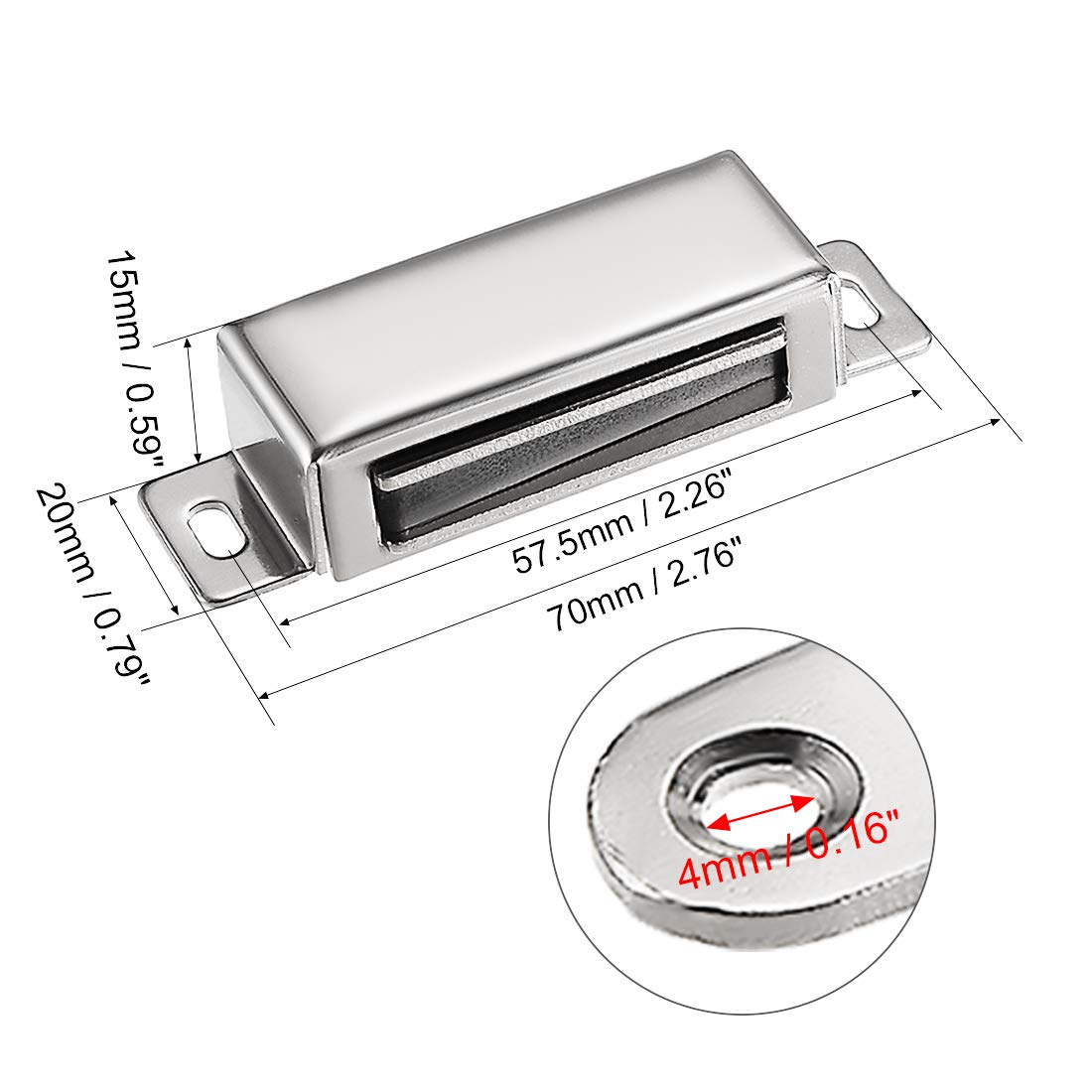 uxcell 5Pcs Door Cabinet Magnetic Catch Magnet Latch Closure Stainless Steel 97mm Length a18080300ux0123