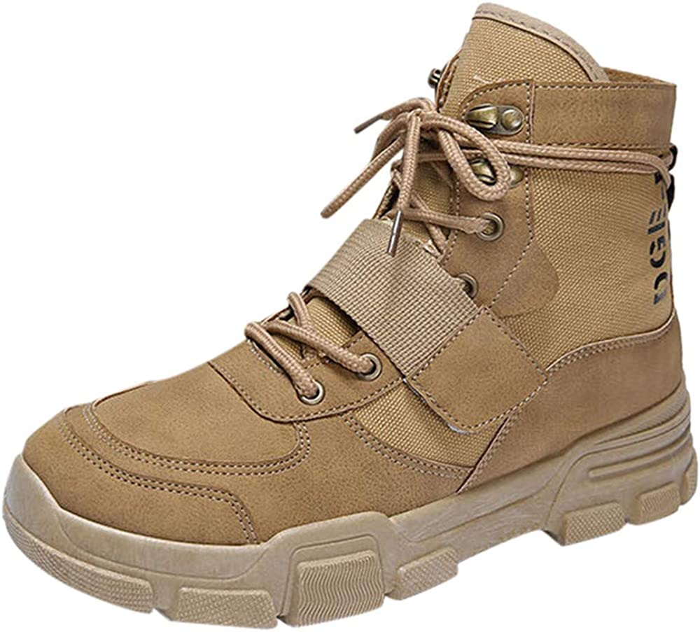 Colmkley Mens Ankle Boots Lace Up Anti-Slip Outdoor Work Hiking Martin Combat