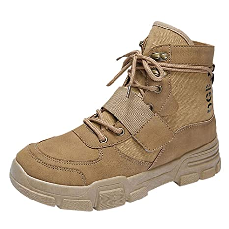 Teresamoon Mens Flat Casual Shoes Non-Slip Comfort Boots Outdoor Hiking Boots (Most Wished