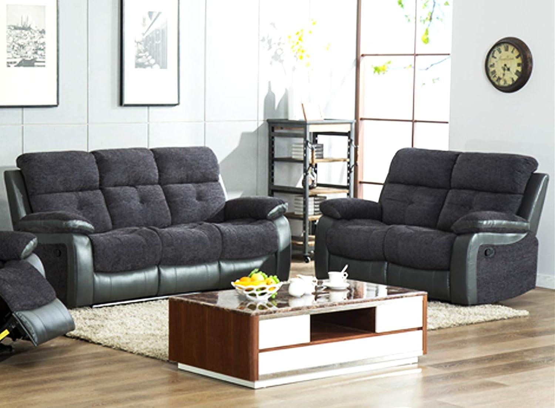 Phenomenal New Brooklyn Fabric Reclining Sofa Set Black And Grey Or Beatyapartments Chair Design Images Beatyapartmentscom