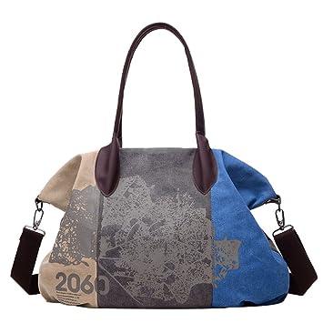 59dd3c93a8d13 PB-SOAR Damen Vintage Canvas Große Schultertasche Umhängetasche Handtasche  Henkeltasche Beuteltasche Reisetasche (Grau +