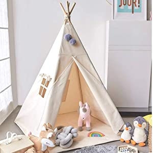 Avrsol Teepee Tent for Kids, Natural Cotton Canvas Foldable Children Teepee Play Tent for Girl Boy with Gift 2 Pompoms 3.15