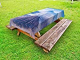 Lunarable Volcano Outdoor Tablecloth, Bromo Batok and Semeru Volcanoes Java Island Indonesia Magma Activity, Decorative Washable Picnic Table Cloth, 58 X 120 Inches, Pale Blue Mauve White