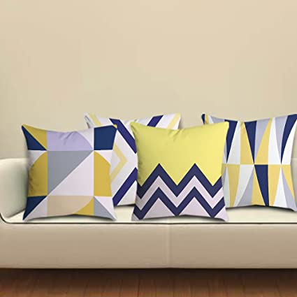 Amazon Com Popeven Blue Yellow Decorative Throw Pillow Case Set Of