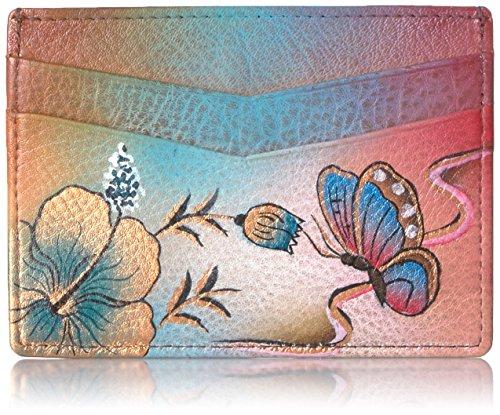 Anuschka Hand Panted Credit Card Case Premium Hibiscus Antique Credit Card Holder, Pha-Premium Hibiscus Antique, One (Womens Premium Hibiscus Antique)