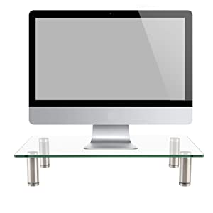 WALI Tempered Glass Monitor Riser Desktop Stand Height Adjustable Table Top for Flat Screen LCD LED TV, Laptop, Notebook, Display (GTT01)