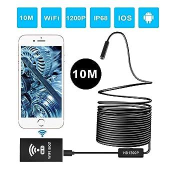 Wireless WiFi Telecamera di Ispezione 2.0 Megapixel 1200P HD Boroscopio con 8 luci LED Windows Endoscopio Tablet MAC IP68 impermeabile 10 Metri Semi-Rigido Cavo per Android e IOS