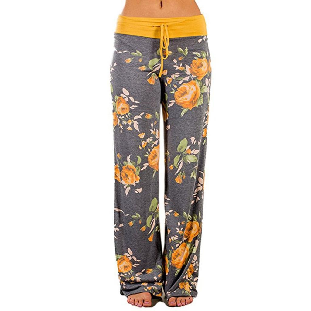 Plus Size Women Fashion Floral Print Drawstring Long Wide Leg Yoga Fitness Pants Loose Leggings Trousers (L2, Yellow)