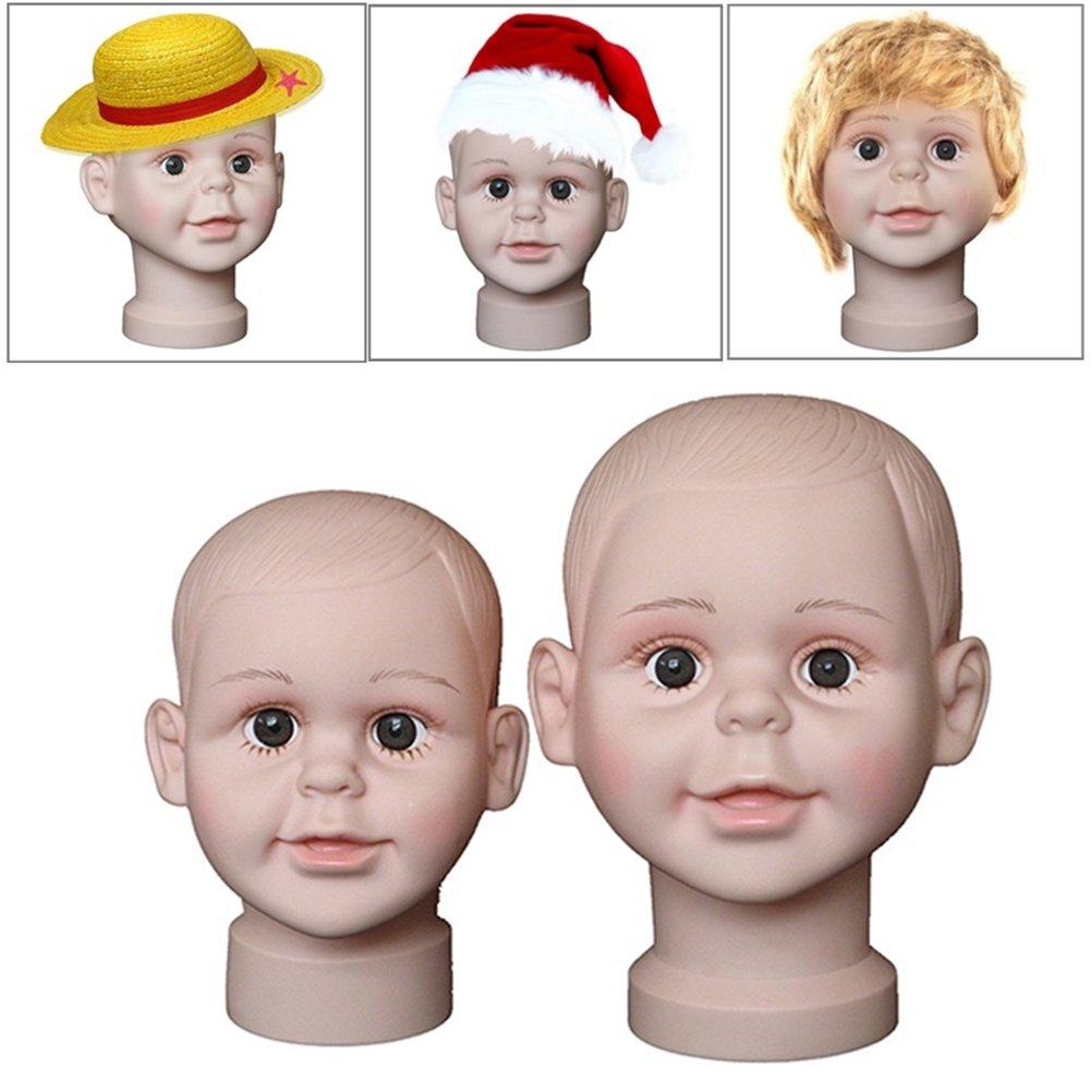Makwes 1 Einstellen Mannequin Kopf Mannequin-Kopf,Kinder Art Haar Korn Stil Modell Kopf Schaufensterpuppen Anzeige Hut Per/ücke Vitrine size L