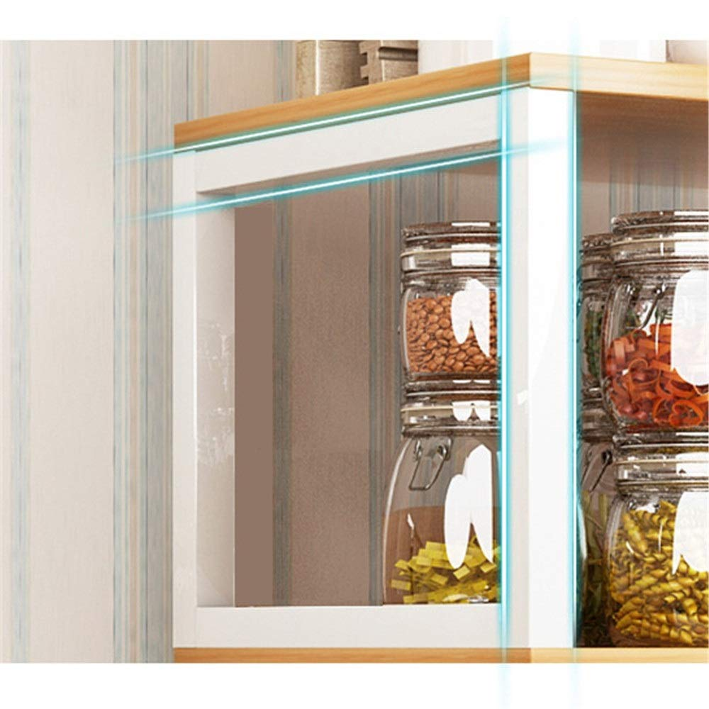 Yuybei-Home Baker's Shelf 3 Layer Organiser Stand Shelf Microwave Oven Rack with Big Cabinet Kitchen Storage Used for Spice Rack Organization Workstation (Color : White, Size : 60x34x109 cm) by Yuybei-Home