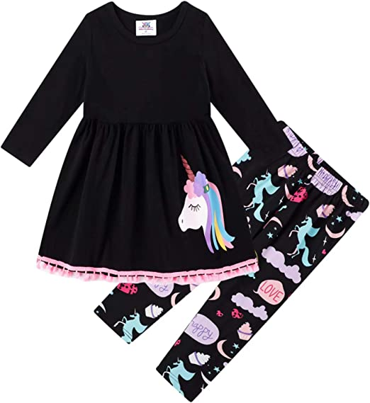 Unicorn Toddler Girls Kids Cotton Tunic Tops Dress Pants Outfits Set Clothes New
