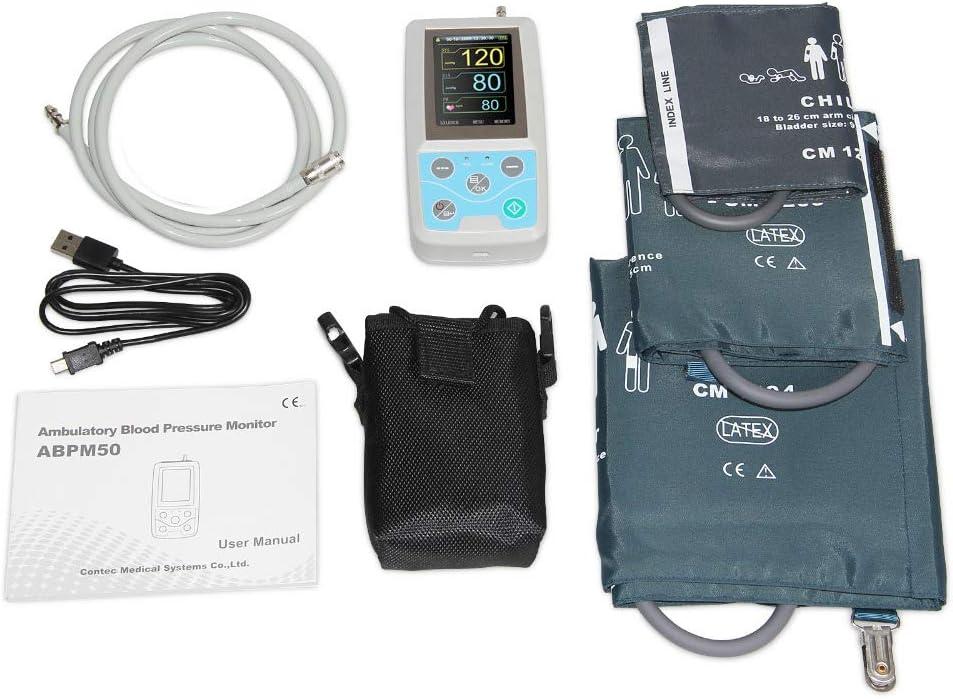 PANI Monitor ambulatorio de presión Arterial 24 Horas Monitor Holter Abpm50 + 3 PCS puños, Software para PC, Niños + Adultos + Grande puños Adultas, la FDA CE