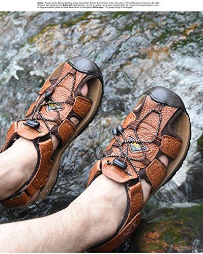 Happyshop (tm) Heren Koe Lederen Casual Strand Platte Leren Riemen Romeinse Ventileren Sandalen Schoenen Antislip Bruin