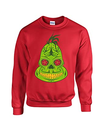 americas finest apparel grinch sugar skull ugly christmas sweater - Grinch Ugly Christmas Sweater