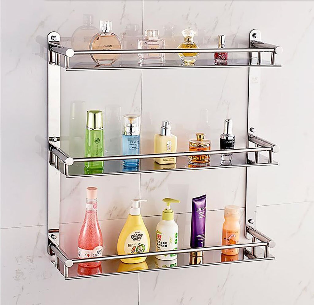 YAOHAOHAO Bathroom shelving bath rooms, rack, 304 stainless steel bath rooms 3 rays of the wall hanging (Size: 40 cm).