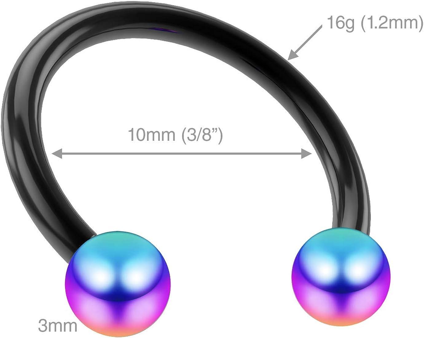 Bling Unique 6pc 16g Rainbow Gage Gauge Helix Jewelry Lip Lobe Men Nipplerings Nose Pierced Earring 6mm 8mm 10mm