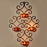 ExclusiveLane Home Decorative Metal Wall Scone With 4 Tea Light Candle Holders (Gold)