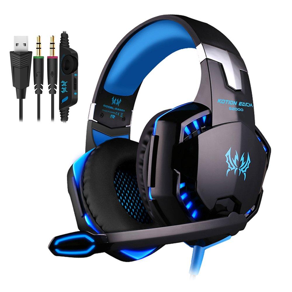 PUNICOK PC Gaming Headset G2000 Kopfhö rer mit Mikrofon 3.5mm on Ear Surround Sound Ohrhö rer und Lautstä rkeregelung fü r PS4 Xbox One PC Laptop Tablet Mobile Phones Blau