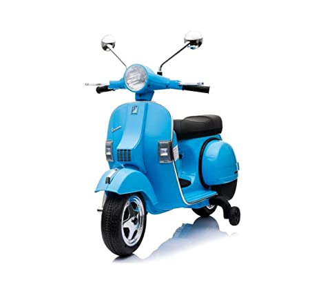 LT887 Moto eléctrica PIAGGIO para niños VESPA PX con ruedas 12V luces led - Azul oscuro