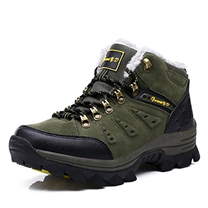 Men's Outdoor Hiking Shoes Comfortable Lightweight Trekking Shoes 39-44 ( Color : Army green-Plus plush  Size : 41 )