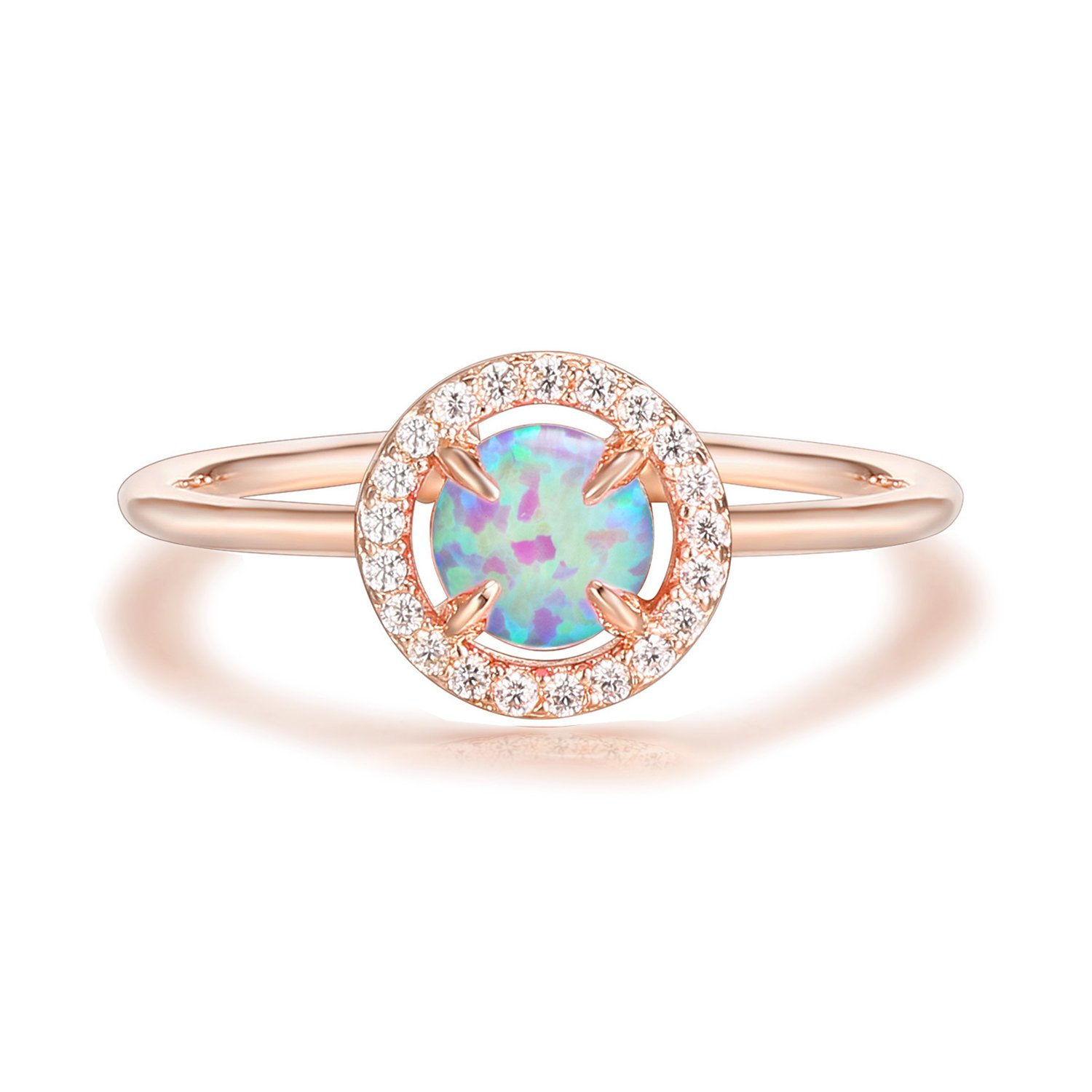 PAVOI 14K Rose Gold Plated CZ and Created Pink Opal Ring by PAVOI