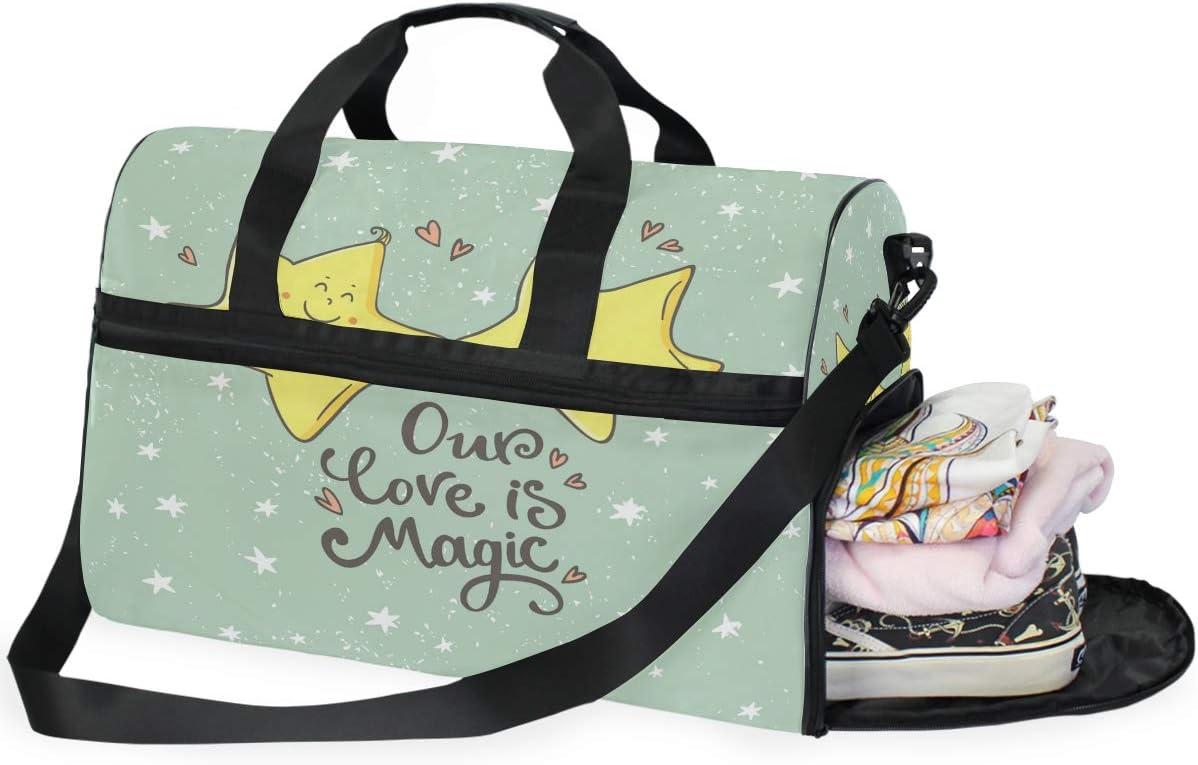 ALAZA Vintage Magic Stars Love Sports Gym Duffel Bag Travel Luggage Handbag Shoulder Bag with Shoes Compartment for Men Women