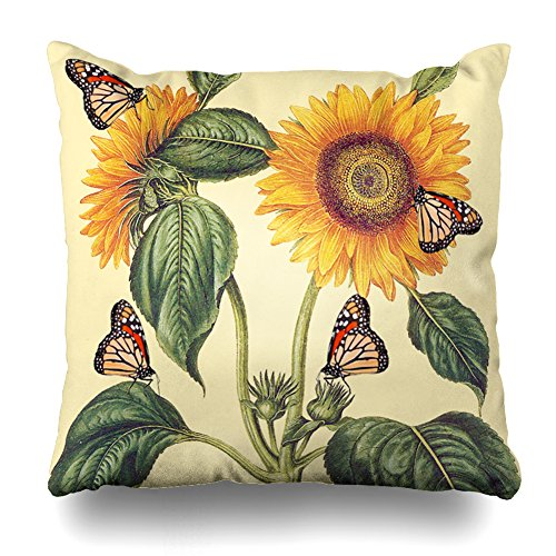 Decorativepillows 20 x 20 inch Throw Pillow Covers,Sunflower Flowers Floral Butterfly Pattern Double-Sided Decorative Home Decor Indoor/Outdoor Garden Sofa Bedroom Car Kitchen Nice Gift ()
