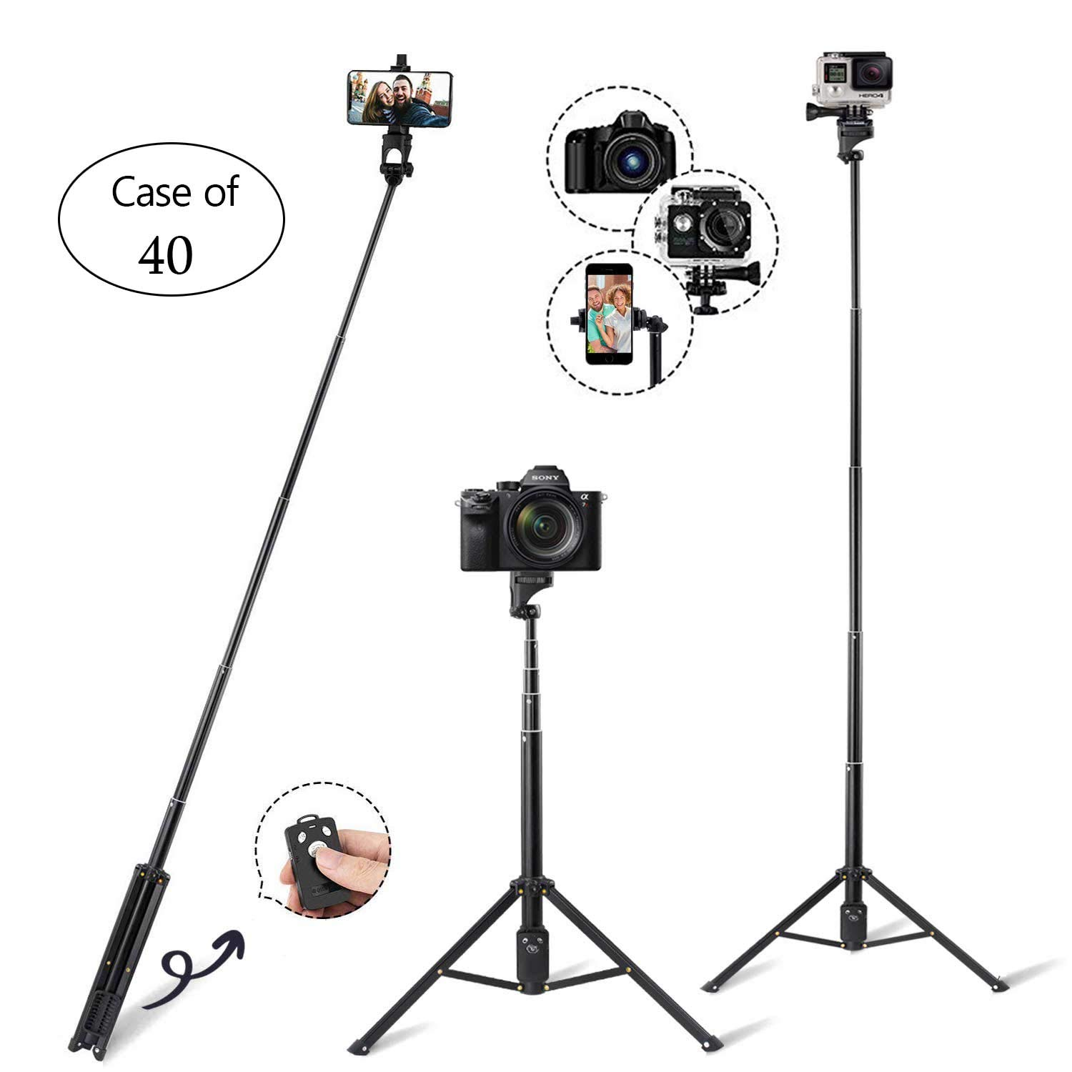 Case of 40, Eocean Selfie Stick Tripod, 54-Inch Extendable Selfie Stick with Wireless Remote, Compatible with iPhone/Galaxy Note 9/S9/S9 Plus/Google/Huawei/Xiaomi