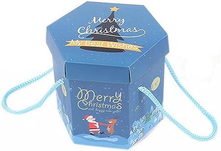 Spicy Meow Pack 10 Hexágono Nochebuena Navidad Caja de Regalo Azul Claro: Amazon.es: Hogar