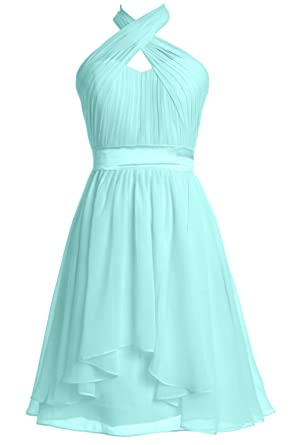 Wedding Women Formal Gown Halter Party Length Macloth Knee 76fbgy