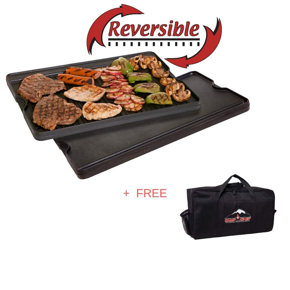 Camp Chef Pre Seasoned Cast Iron Reversible Griddle and Grill Combo + Free Stove Carry Bag