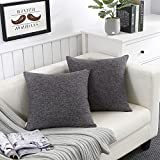 Fancy Queen Throw Pillow Covers Cotton Linen Soft PillowCase Couch Cover Square Decor Toss Cushion Covers Solid for Home Sofa Bedding Dark Grey 18