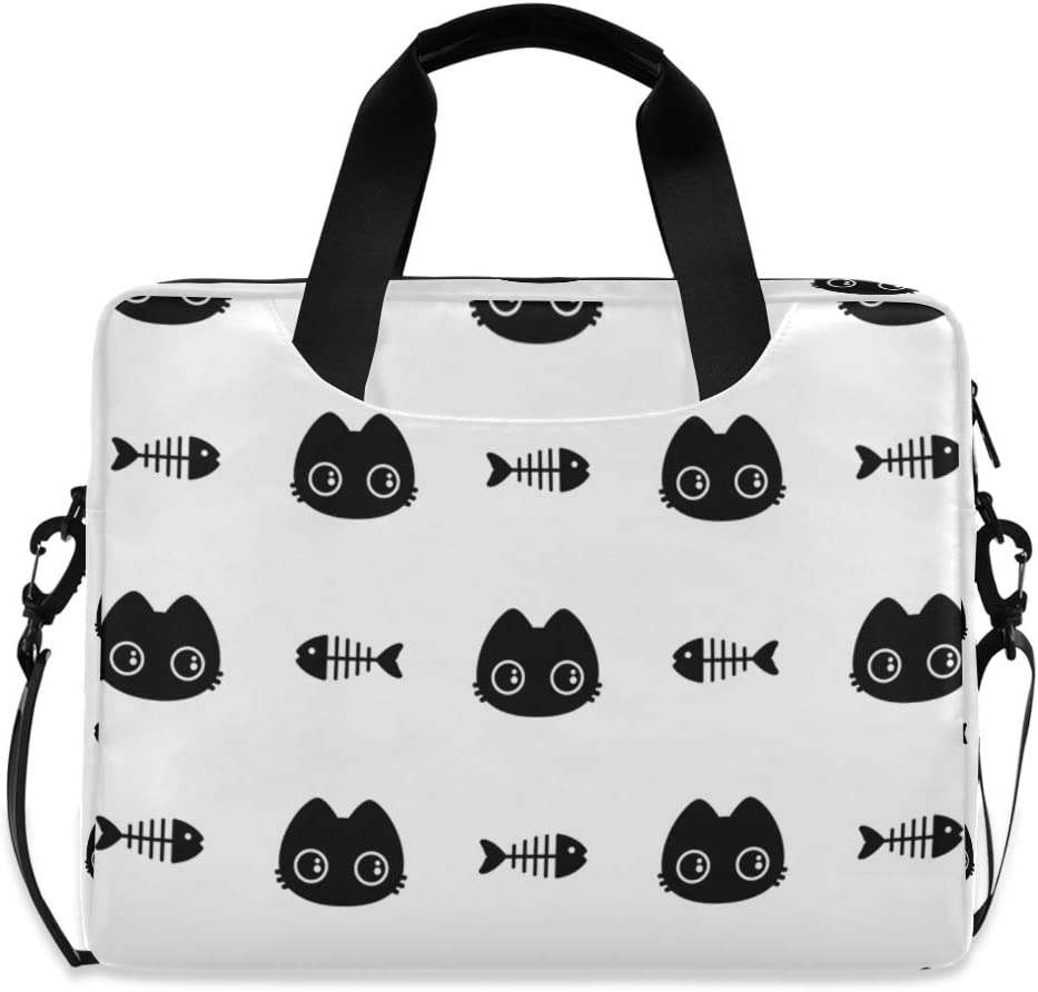 Cute Laptop Cases 15.6 for Women Laptop Shoulder Bag Carrying Briefcase Handbag Sleeve Case Kitten Fish Bone