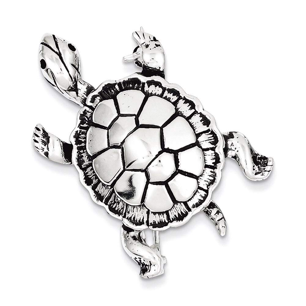 Lex /& Lu Sterling Silver Antiqued Turtle Pin
