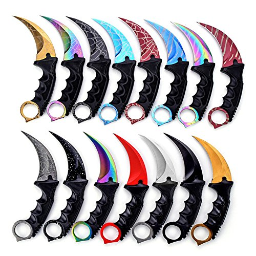 Wetop Karambit Knife Set of 1, Stainless Steel Fixed Blade Tactical Knife with Sheath and Cord Knife CS-GO for Hunting Camping Self Defenses and Field Survival - Random Color