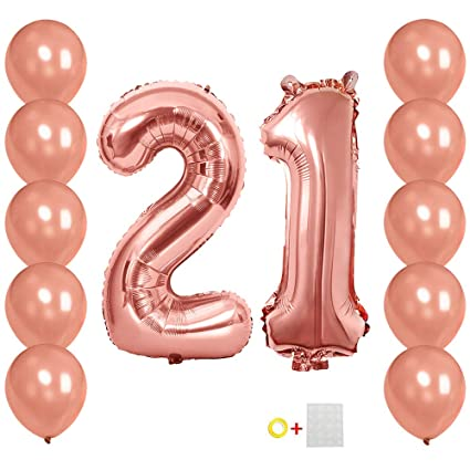 40inch Jumbo Number 21 Balloons Mylar Rose Gold 21th Big Foil Digital Helium For