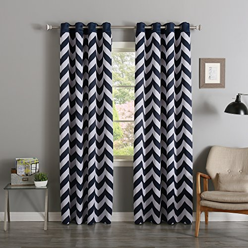 Cheap Best Home Fashion Room Darkening Chevron Print Border Curtains – Stainless Steel Nickel Grommets – Navy – 52″W x 96″L – (Set of 2 Panels)