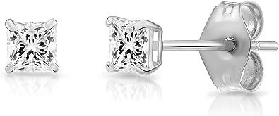 Free Gift Box 14K White Gold Square Princess Cut Clear White CZ Stud Earrings