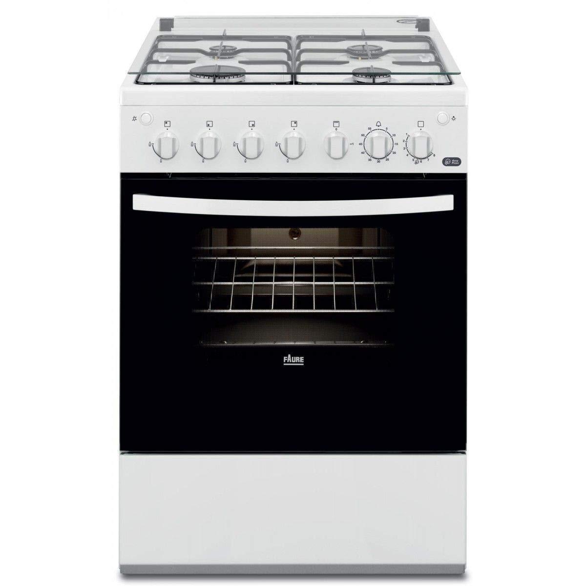 Faure FCG612H1WA Cuisinière Cuisinière à gaz A Blanc - Fours et cuisinières (Cuisinière, Blanc, Rotatif, Devant, 1,15 m, émail)