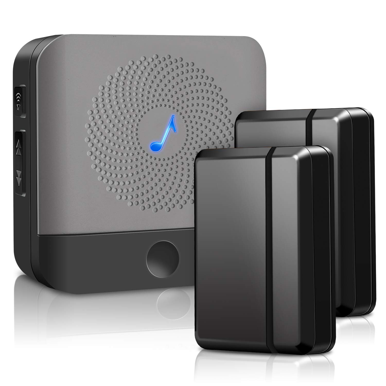 Door Chime Wireless Door Sensor - BISTEE Alarm Contact Door Open Chime Kit with 600 FT Range, 4 Volume Levels, 52 Melodies, LED Indicator for Business/Home/Office/Stores