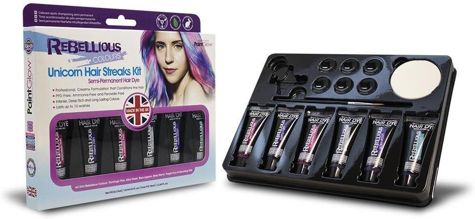PaintGlow, semipermanente colourful hair Dye Kit Set 6 pelo ...