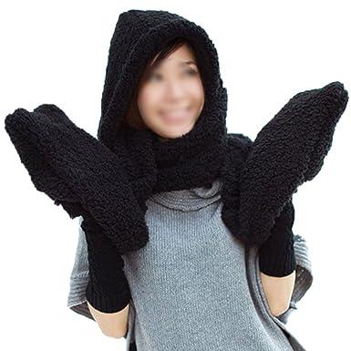 5de9e57e1d0c6 TOOGOO(R) Femmes Epais Gant Chapeau Bonnet Capuche Plush Echarpe Chale  Earflap Hat Gloves